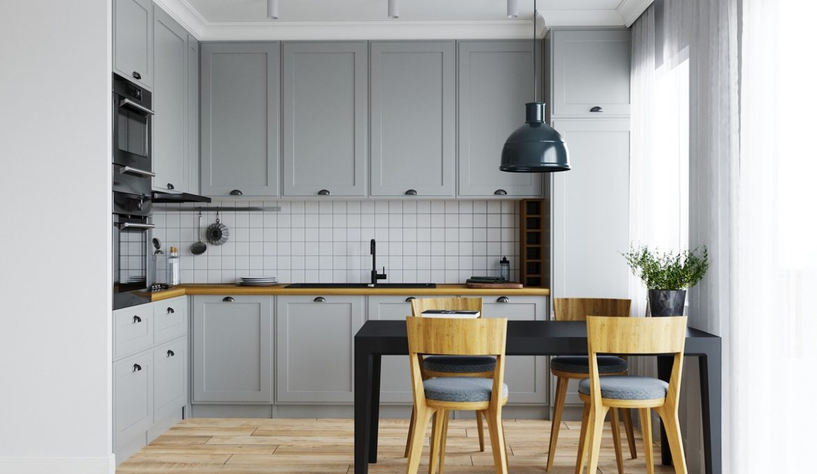 Grey-and-white-L-shaped-kitchen