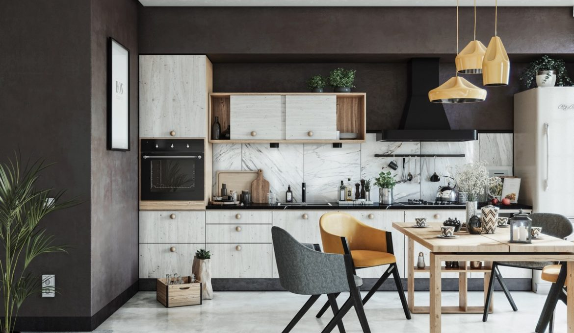 one-wall-kitchen-with-large-island-table